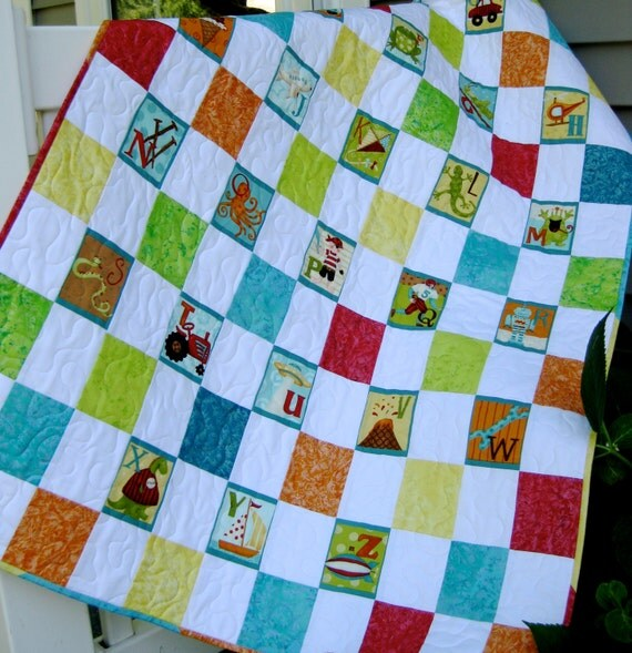 Alphabet Quilted Baby Blanket Wall Hanging ABC Boy By