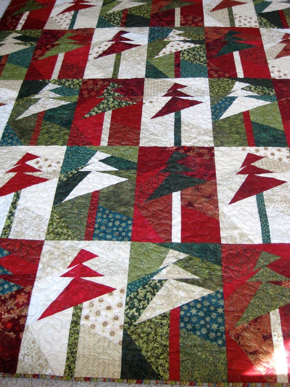Lap quilt wall hanging modern christmas trees by sallymanke