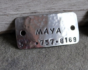 Dog Tag - Dog ID Tag - Pet Tag - Name tag for dog collar- Riveted Collar Tag