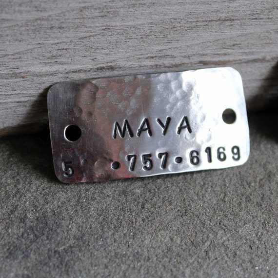 Dog Tag - Dog ID Tag - Pet Tag - Name tag for dog collar- Riveted Collar Tag