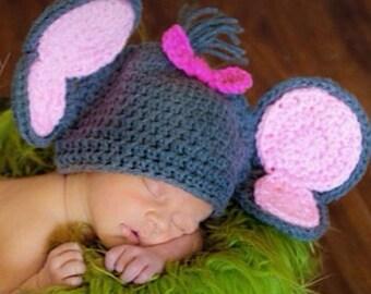 Crochet elephant hat, newborn prop, photo prop, baby shower gift