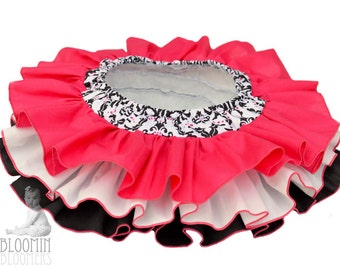 Hot Pink and Black Damask All Around Ruffle Diaper Cover Bloomer Skirt Panty