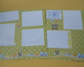 SALE Baby boy scrapbook album premade pages 12 by 12