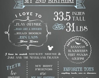 Birthday Milestones Poster Print, 20x30 Poster Print, Baby's First Year Chalkboard Poster, Lauren Haddox Designs
