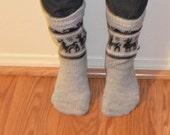 Grey Alpaca Socks, Stockings, Natural Color, Llama Design,