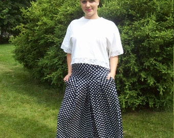 Nautical Navy and White Polka Dot Wide Leg Gauchos