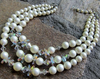 Mad Men Vintage Necklace Triple Strand Faux Pearl Crystals