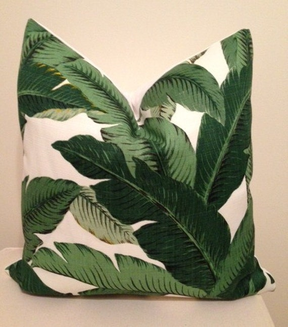 Green Tropical Banana Leaf, Palm Leaf  Designer Throw Pillow Cover, Martinique Accent Pillow