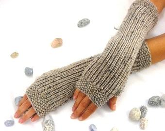 BEIGE tweed  LONG Fingerless Gloves, Merino Wool Mittens, Arm Warmers , Hand Knitted, Eco Friendly