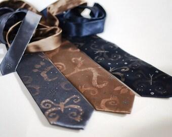 Neckties grey brown navy, men necktie hand painted butterfly design, gift for men - Hand painted accessories for men OOAK for order