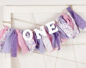 Sophia the First Birthday - Purple, Pink and White ONE Banner for Girl's Birthday Party - Rag Banner - Garland - Photography Prop
