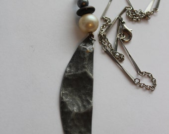 Recycled Metal Pearl Drop Leaf Limited Edition Costume Fashion Necklace