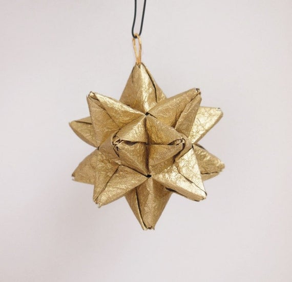 Gold origami star christmas ornament