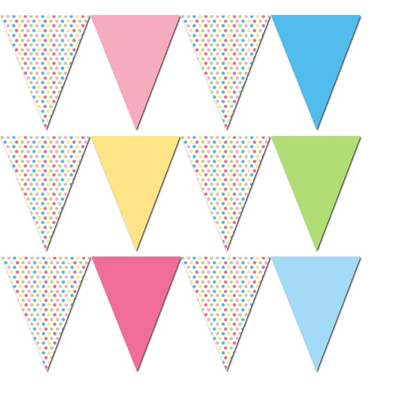 Party Flag Banner Pastel Colors Polka Dots Birthday Or Baby
