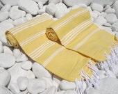 Turkishtowel-Set of 2-Hand woven,soft,high quality,bath,beach,yoga,spa,travel towels or sarongs-White stripes on yellow