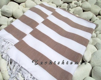 SET of 2 Best Quality Hand Woven Turkish Cotton Bath Towel or Sarong-White and Brown