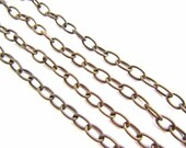 32 inches Vintaj Natural Brass  Etched Cable Chain / 6.5mm x 9.5mm