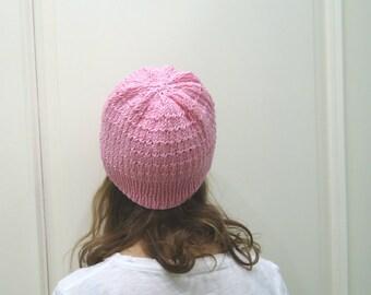 Hand Knitted sugar PINK HAT, beret, cap