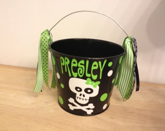Halloween bucket: Personalized halloween trick or treat metal bucket, 5 quart pail, LOTS of colors, girly skull design