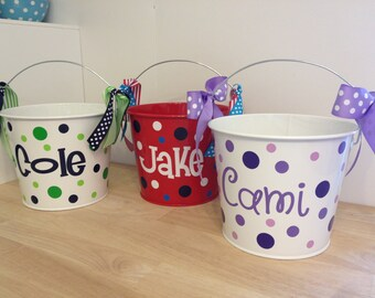 Personalized Easter basket, 5 quart metal bucket, or halloween trick or treat metal bucket, with name, LOTS of colors