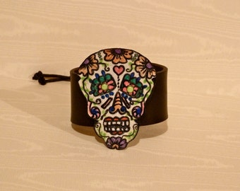 SKULL Black Leather Hand Painted Day of the Dead Skull