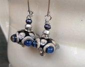 Flaming blue dichroic lampwork bead earrings