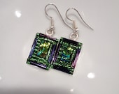 Green and purple bling earrings with dichroic glass and beads