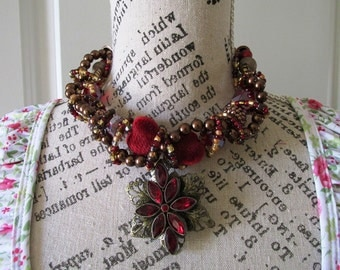 Statement Necklace Red and antigue bronze  Flower wire wrapped Chunky Necklace, Boho, Large with Silver and earrings