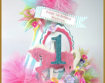 Carousel Pink Pony Birthday Hat