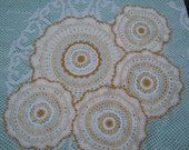 Set of Vintage White and Cream, Tan Crocheted Doilies - Vintage style for your Home.