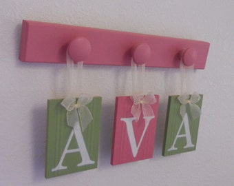 Personalized Children - Children Decor Pink and Green 3 Wooden Hooks Baby Girl Nursery Name - AVA