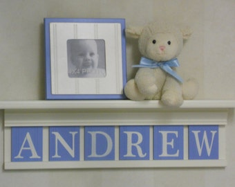 Baby Boy Nursery Decor - White or (Off White) Shelf with Custom Wooden Letters - Pastel / Light Blue Custom Name Sign