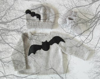 Knitted sweater.Baby set for the Halloween. 100% wool. READY TO SHIP size Newborn