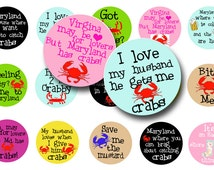 Crabbing bottle cap images-Digital collage sheet-Collage sheet-1 inch circles-Downloadable-Blue crab-Scrapbooking-Magnets-BUY 3 get 1 FREE