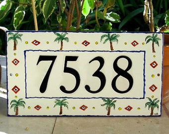 PALM TREE Tile  House Number  Address Plaque Outdoor  Home Address Plaque Blue or Brown Border