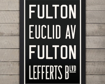 BROOKLYN (FULTON / EUCLID Ave) New York City Subway Sign. Bus Scroll. 12 x 18 Rollsign Print