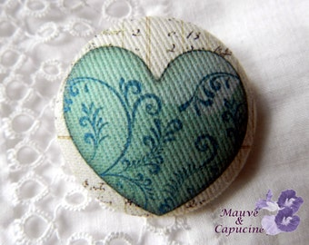 Fabric button, printed  heart