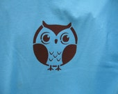 Light Blue Brown Screen Printed Owl Adult Large T Shirt Available inLarge