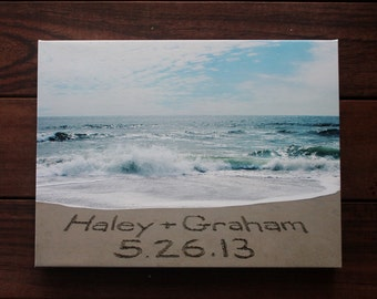 PERSONALIZED CANVAS Names and Wedding Date Sand Writing - message written in beach sand