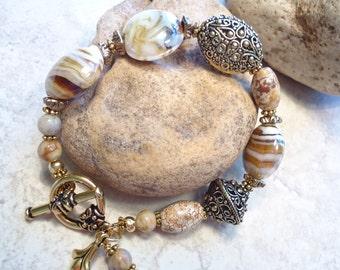 Swirled Lampwork Glass Filigree Bracelet Gold Brown Fall Bracelet