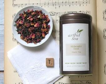 Midnight Rose Black Tea • 3 oz. Tin • Handmade Loose Leaf Tea Blend • Red Rose Petals & Chinese Black Tea