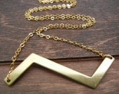 Raw Brass Chevron Necklace Zig Zag Charm Necklace Simple Chevron Pendant Gold Necklace