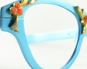 Vintage Tura Blue Cat Eye Eyeglasses Sunglasses Glasses Frame - VintageEyeglassesCat