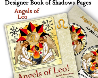 Angels of Leo Astrological Sign Digital Download Art Book of Shadows Pages Two Sigils and Correspondences  Perfect for Moon Magick