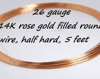 26 gauge 14K rose gold filled half hard round wire for jewelry making,  5 feet