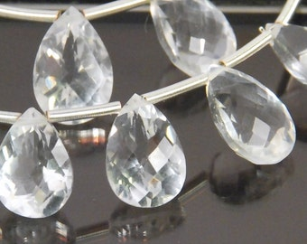 2 pairs: Grade AAA quality micro faceted crystal quartz pan briolettes, size 12x8mm and 13x9mm
