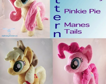 Instant Download Pony Mane and Tail Sewing Pattern pink yellow manes and tails