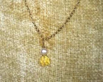 Citrine and Pearl Gold Necklace