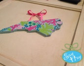 "Preppy North Carolina State hand painted Cutout 12"" inspired by Lilly Pulitzer Checking In Surf Blue"