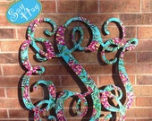 """32"""" Interlocking Wooden Monogram Cutout Hand Painted In Personalized Print"""